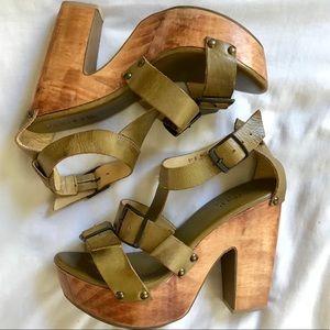 BEDSTU Genuine Leather Wooden Heels. SZ 9, NEW!